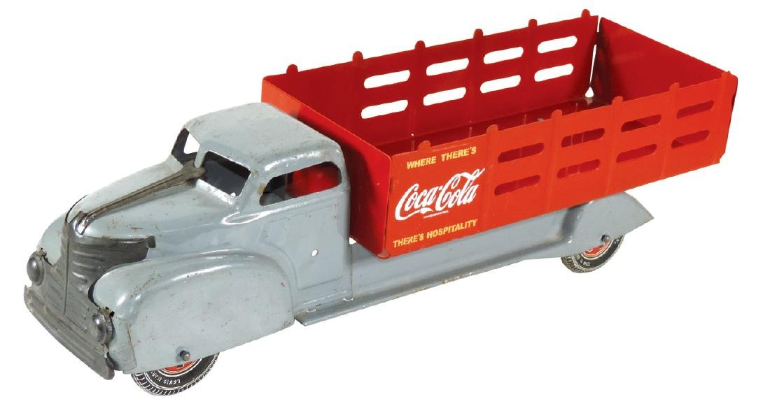 Coca-Cola toy stake bed truck, Louis Marx, pressed