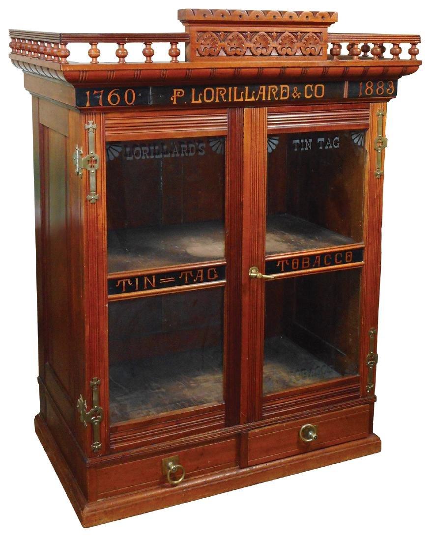Country store advertising cigar cabinet, P. Lorillard &