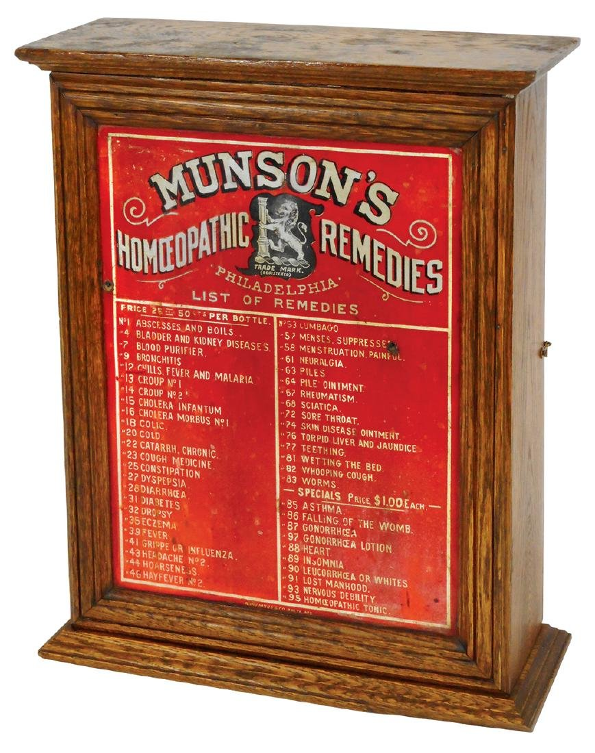 Drug store medical cabinet, Munson's Homoeopathic