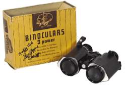 Roy Rogers binoculars in orig box w/Roy's autograph,
