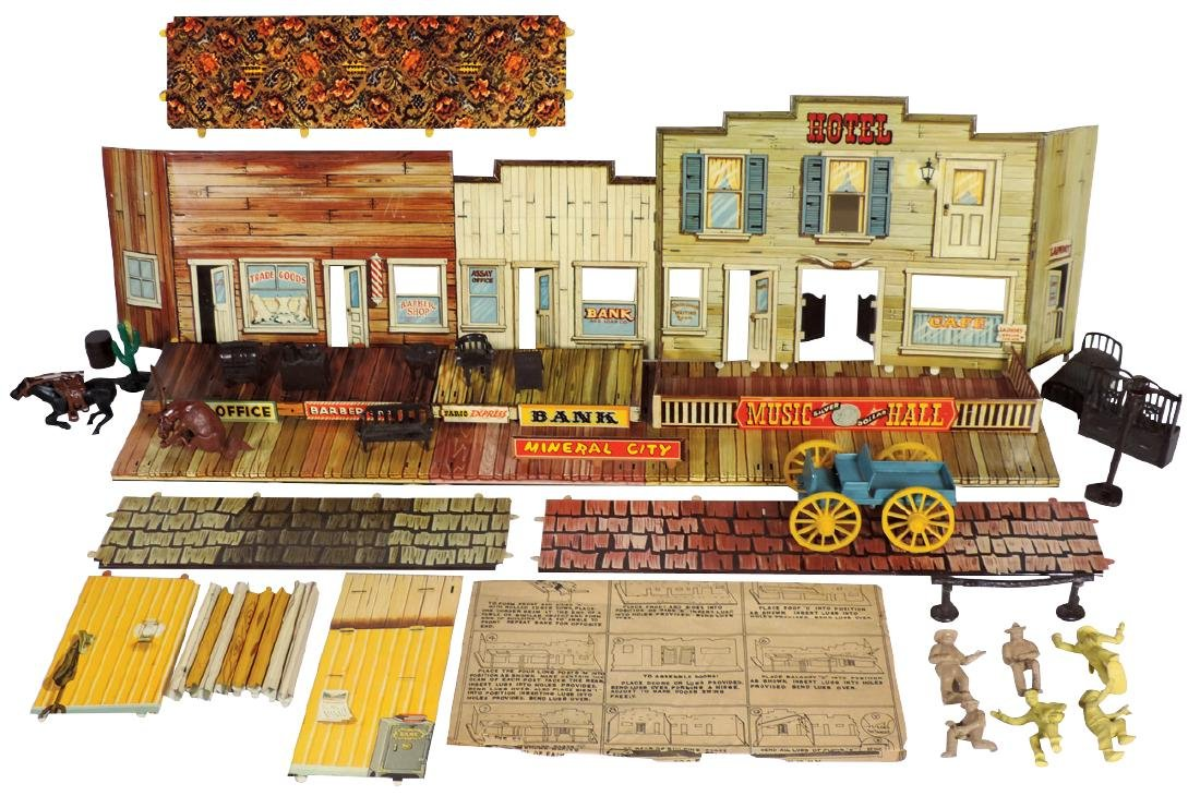 Roy Rogers Western Town Set autographed by Roy, litho