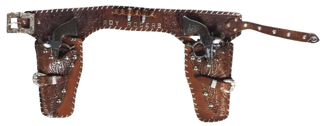 Roy Rogers holster set, fancy tooled leather holster