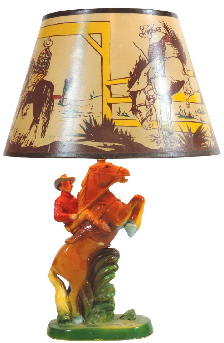 Roy Rogers lamp, Roy and Trigger full color painted