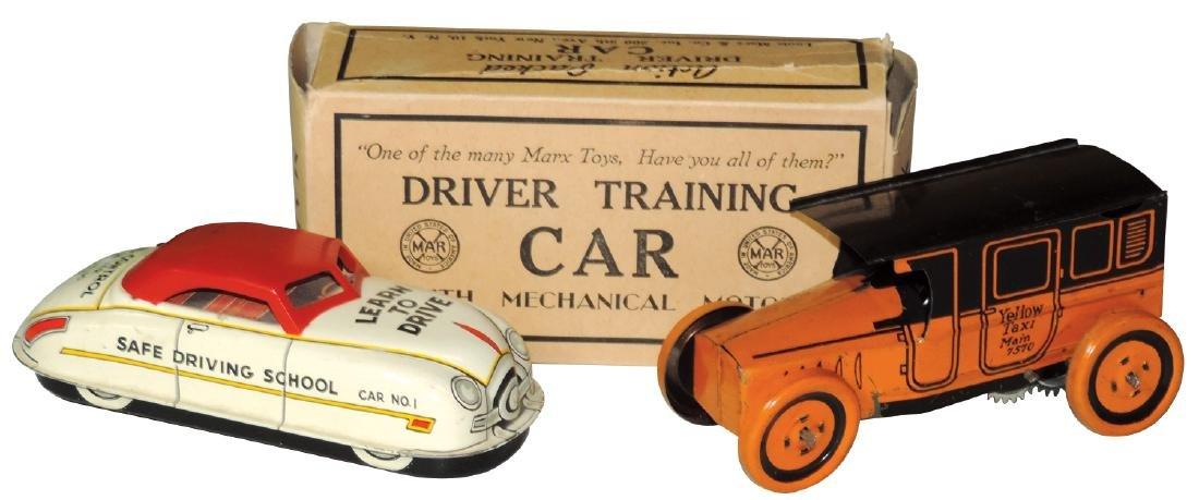 Toys (2), J. Chein Yellow Taxi Main 7570 & Marx Driver