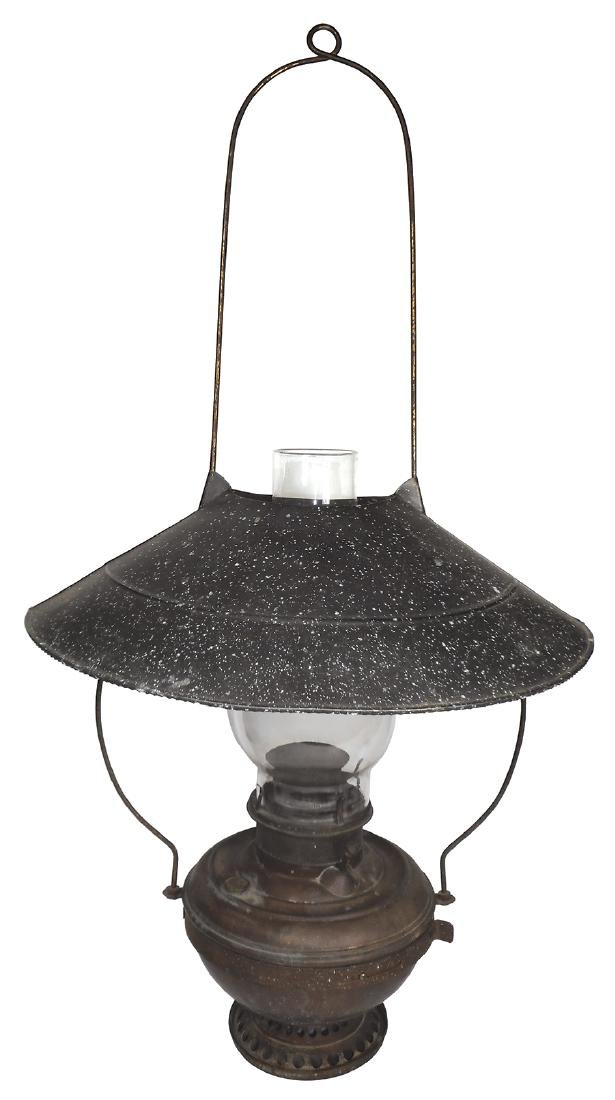 Country store hanging lamp, Bradley & Hubbard, brass