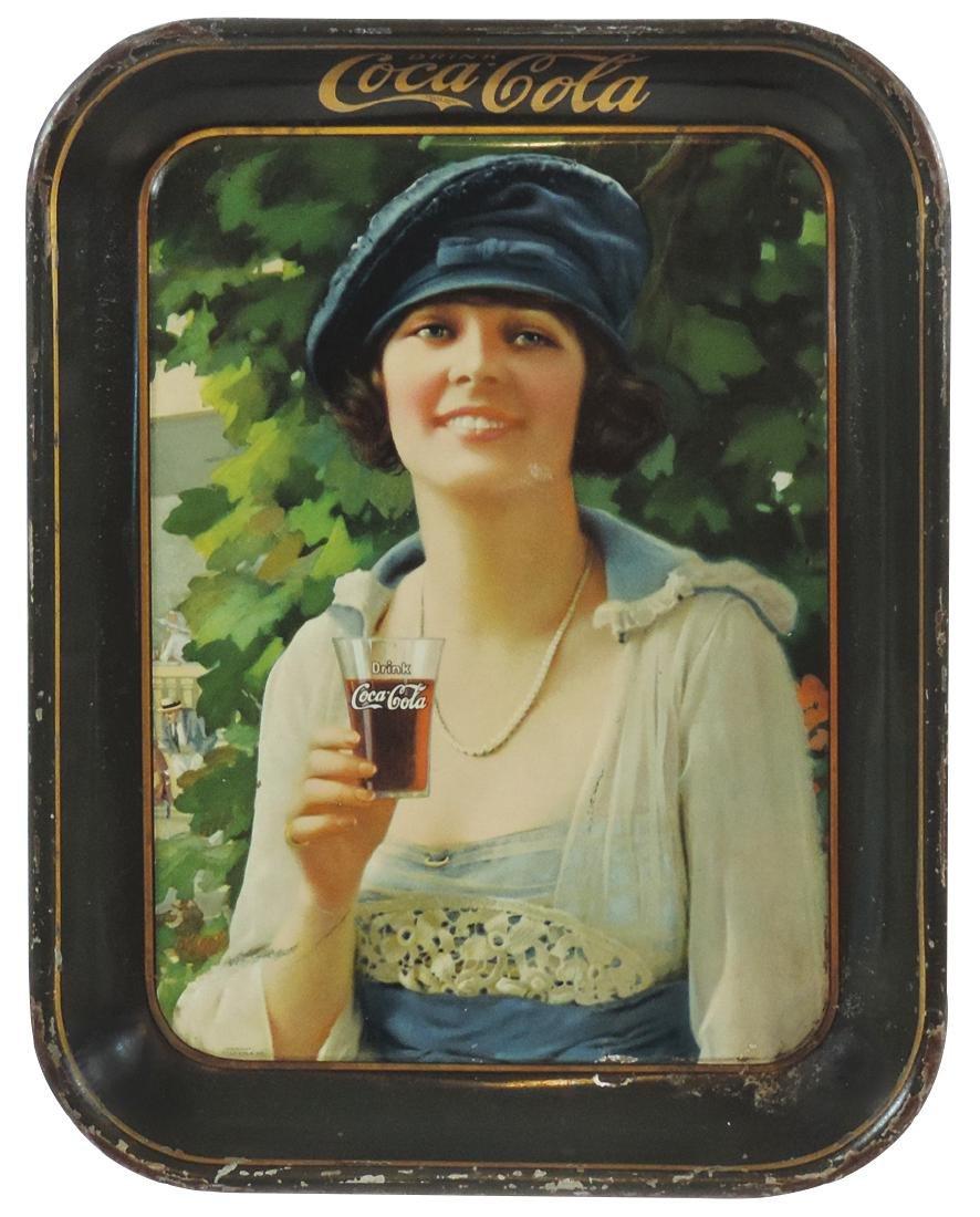 Coca-Cola serving tray, 1921 Autumn Girl, litho on