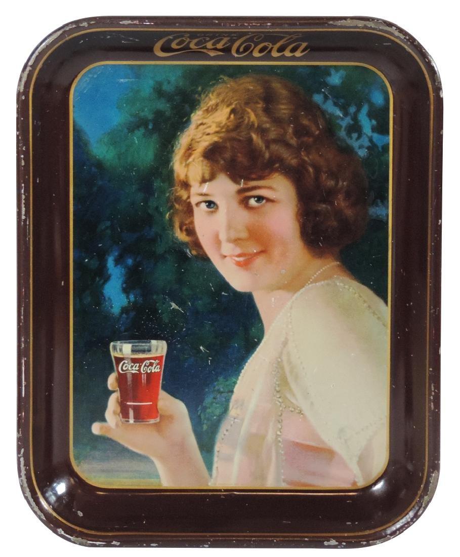 Coca-Cola serving tray, 1924 Smiling Girl w/maroon rim,
