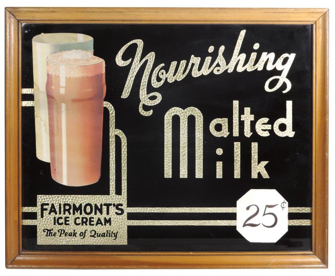 Ice cream sign, Fairmont's Ice Cream Nourishing Malted