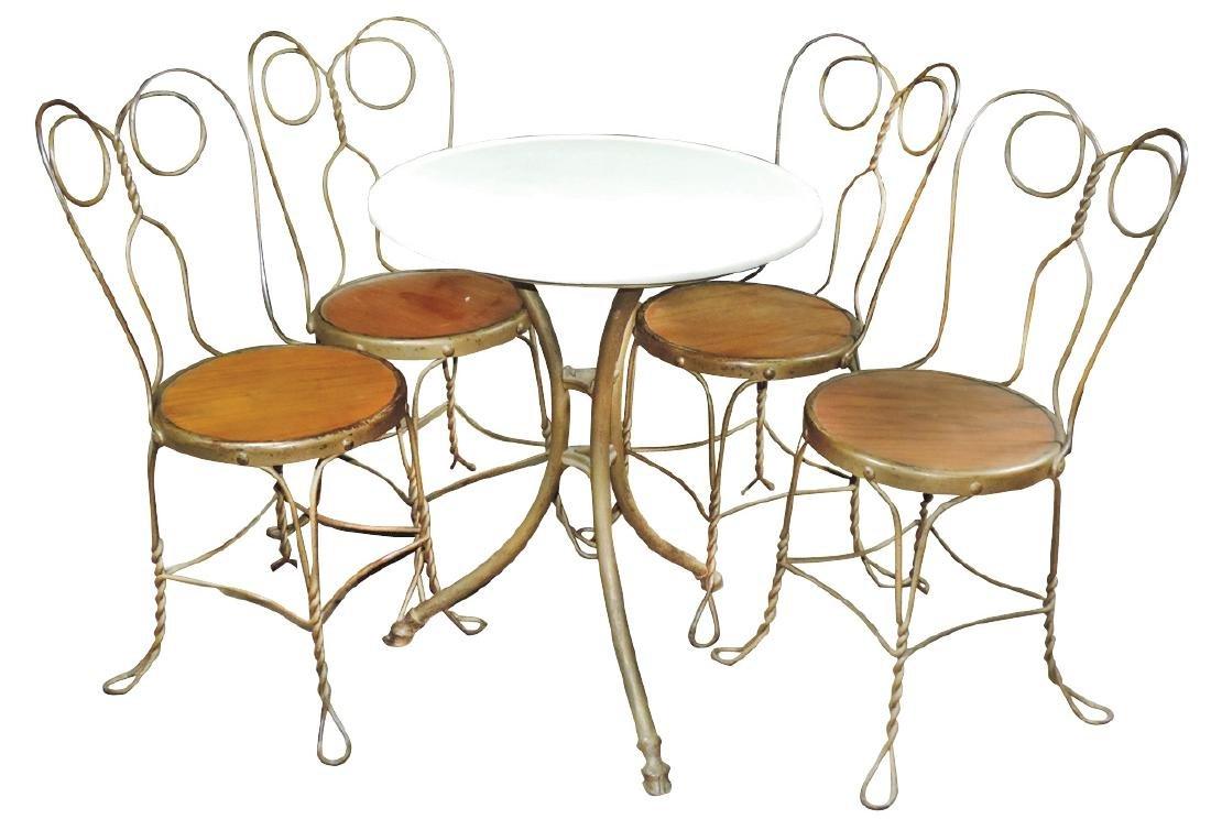 Ice Cream table & chairs, unusual Vitrolite top