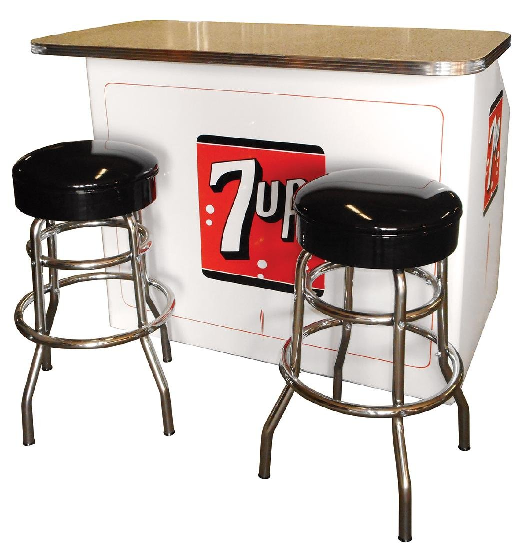Soda fountain 7up cooler w/bar & stools, mfgd by True