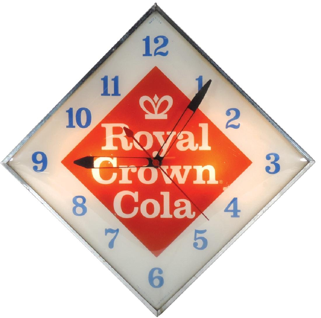 Soda fountain clock, Royal Crown Cola light-up, mfgd by