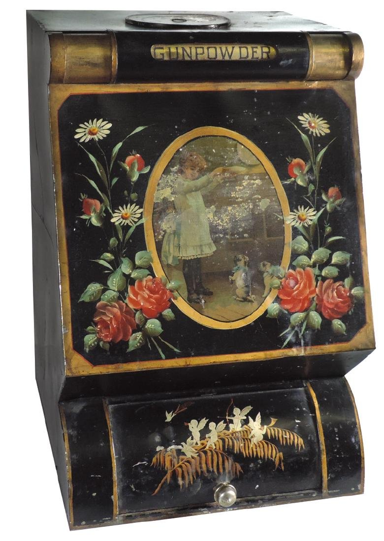 Country store bulk tea dispenser, tin w/hand-painted