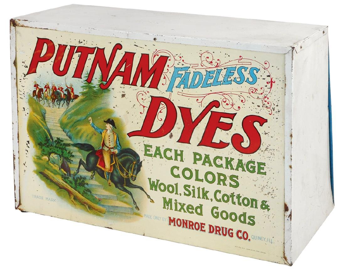 Country store Putnam Dyes cabinet, Shonk Works litho on - 2