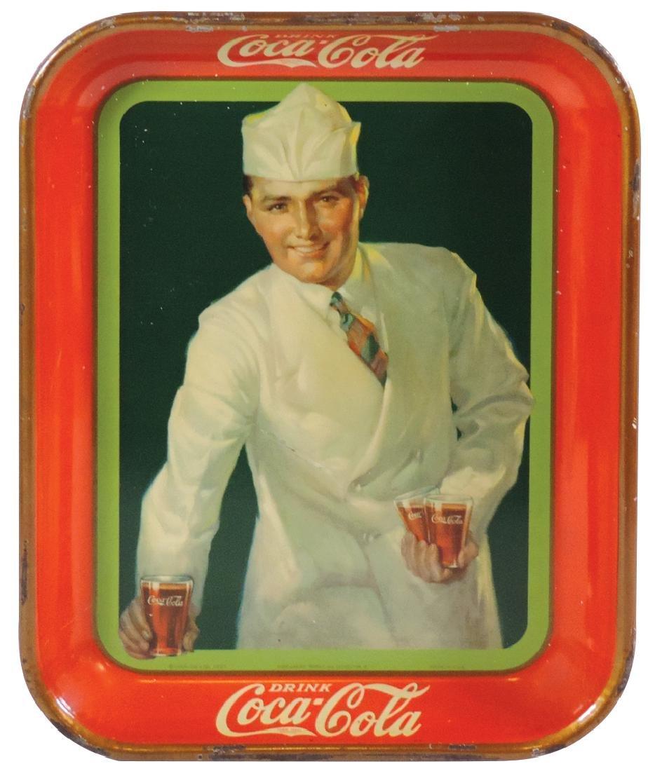 Coca-Cola serving tray, 1927 Soda Jerk, fountain sales,