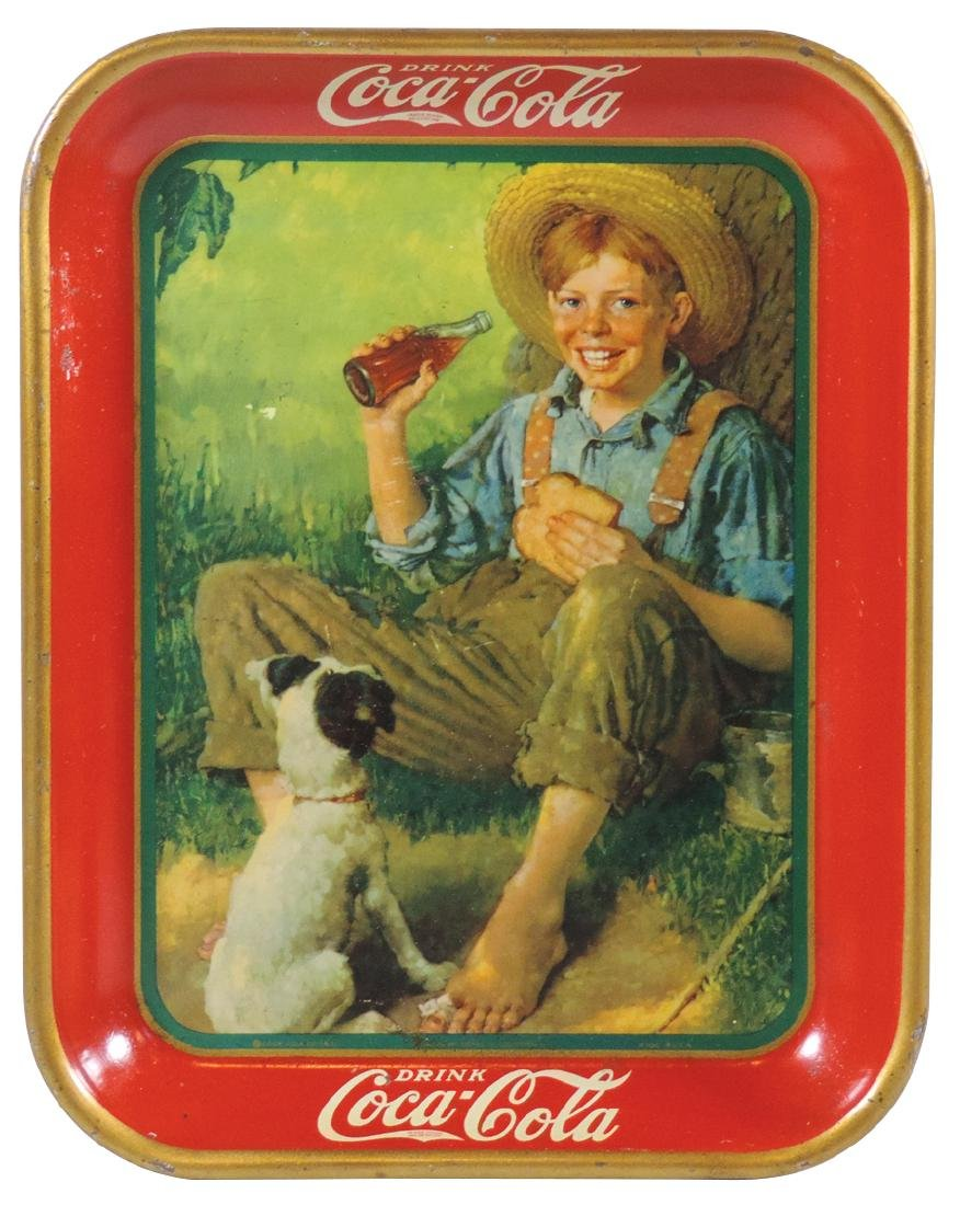 Coca-Cola serving tray, 1931 Barefoot Boy by Norman