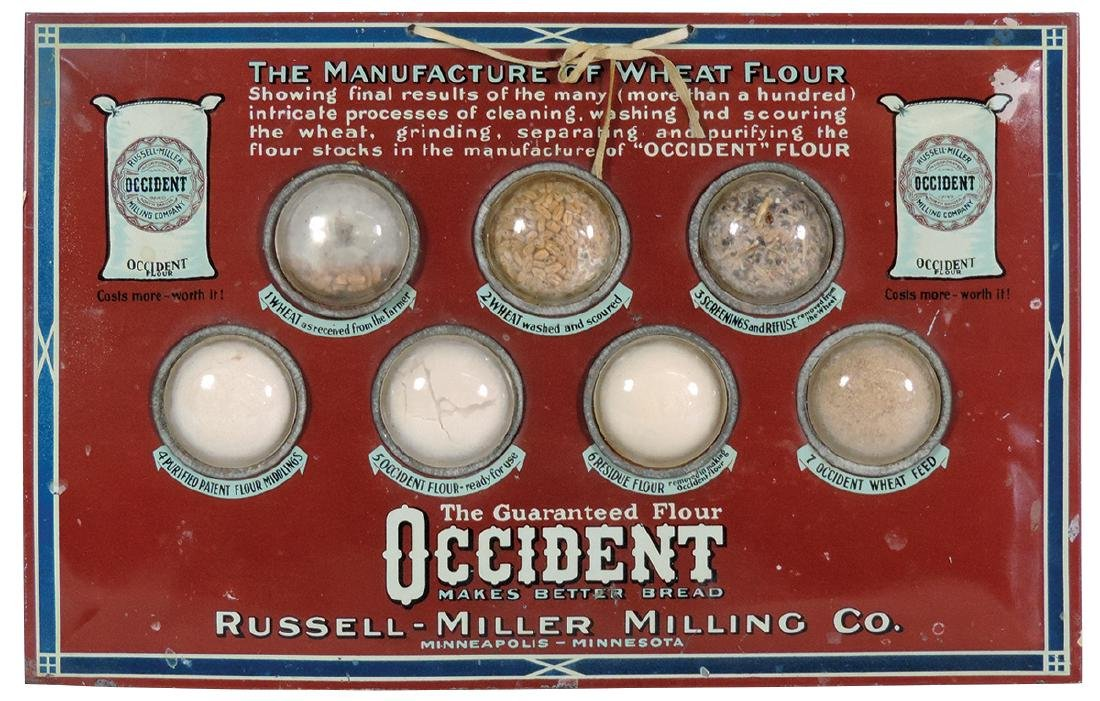Country store sign, Occident Flour, pictures samples of