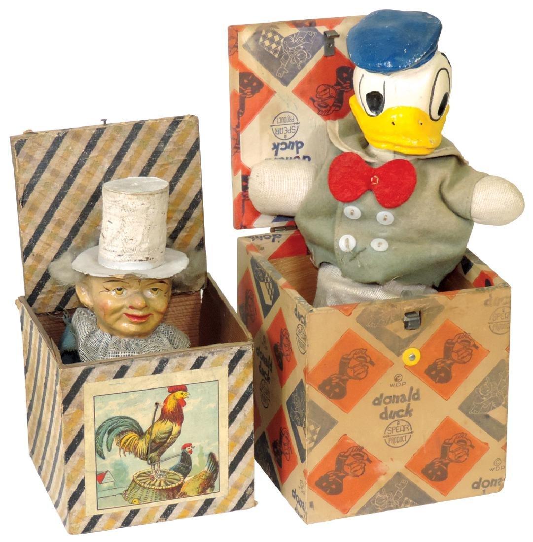 Toys (2), Foxy Grandpa & Donald Duck pop-ups, Spear