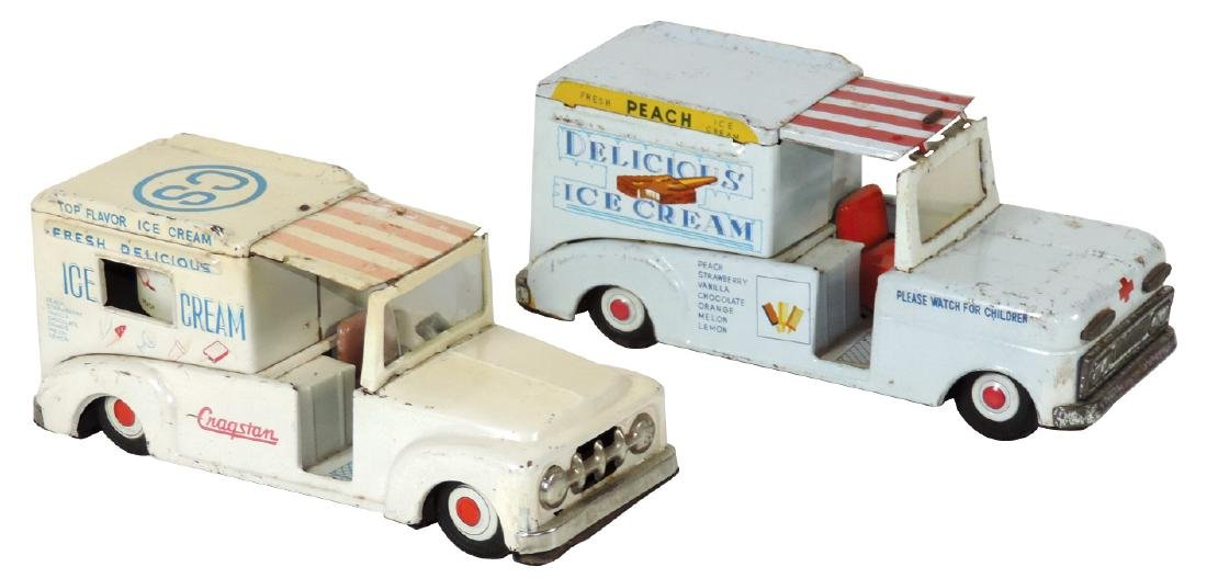 Toys (2), ice cream delivery trucks, one marked