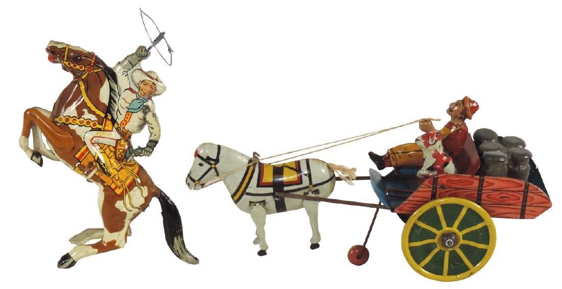 Toys (2), Marx cowboy w/lasso on horse tin windup, Exc