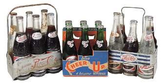 Soda fountain carriers w/bottles, (2) Pepsi-Cola metal