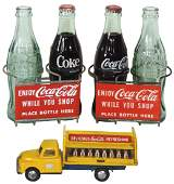 Coca-Cola bottle carriers & toy truck (4), (1) shopping