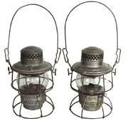 Railroad lanterns (2), Rock Island, clear glass globe