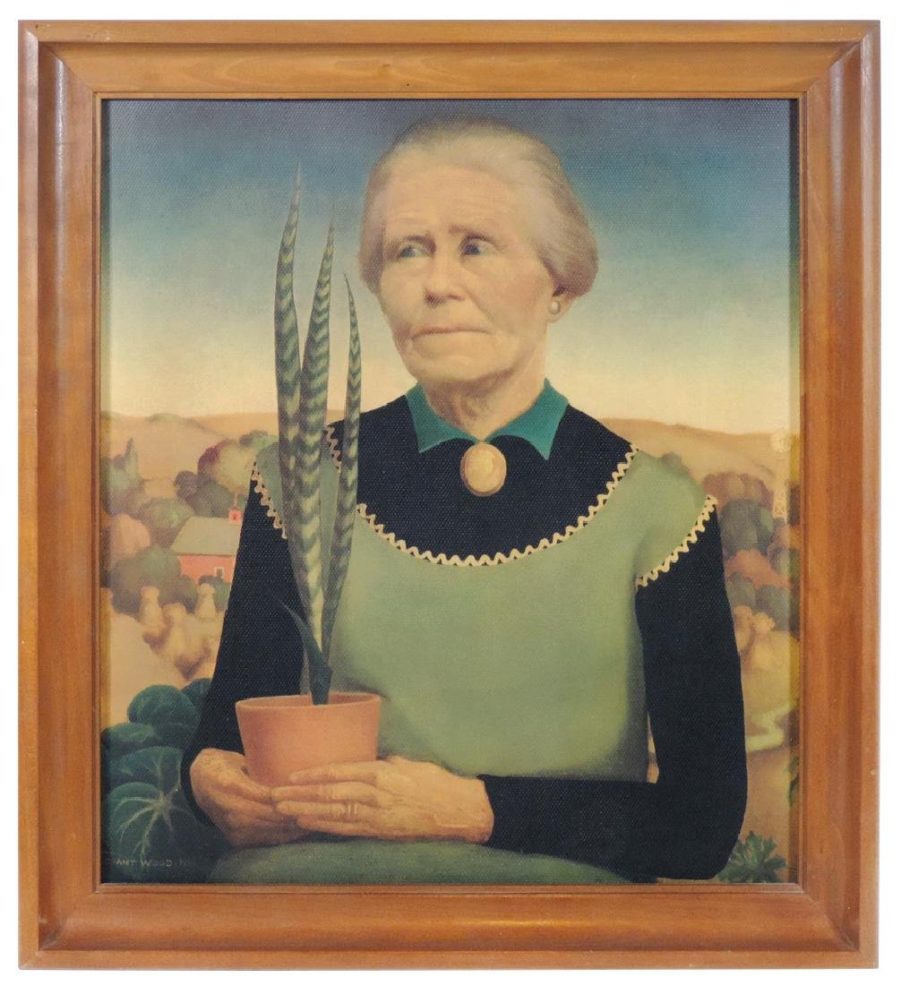 """Grant Wood print, """"Woman with Plants"""" portrait of"""