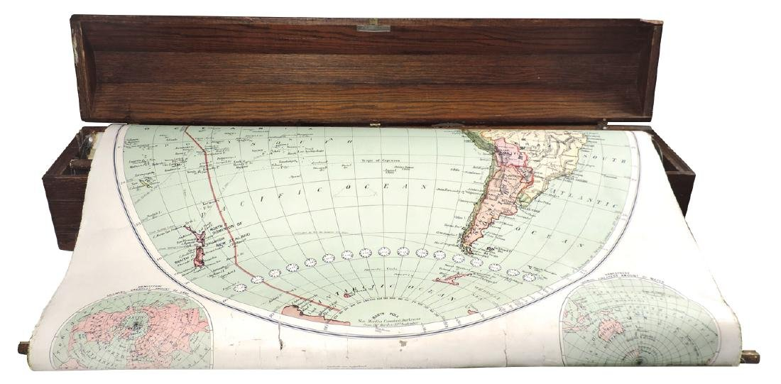 Country school map case, oak wall-hung wainscoted case - 2
