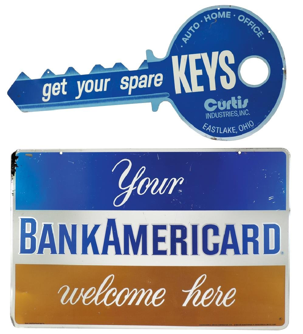 Advertising signs & keys, Key & Bank Americard signs,