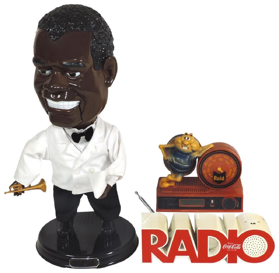 Advertising radios & animated figure (3), Coca-Cola &