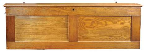 Country school map case, oak wall-hung case mfgd by