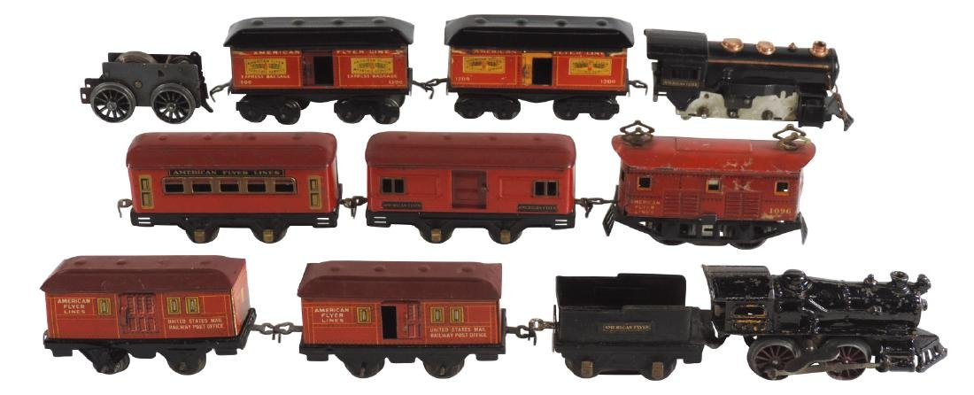 Toy trains (11 pcs), American Flyer engine 13, (2) 1108