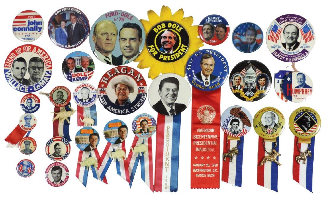 Political buttons (25+), Reagan, Dole, Wallace-LeMay,