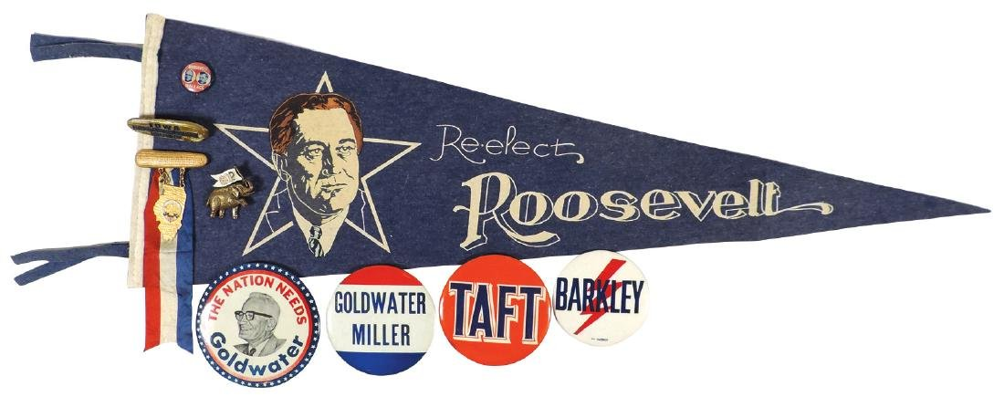 Political buttons, pin & pennant (9), Re-elect