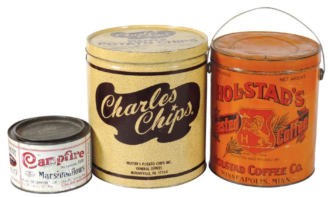Country store tins (3), Holstad's Roasted