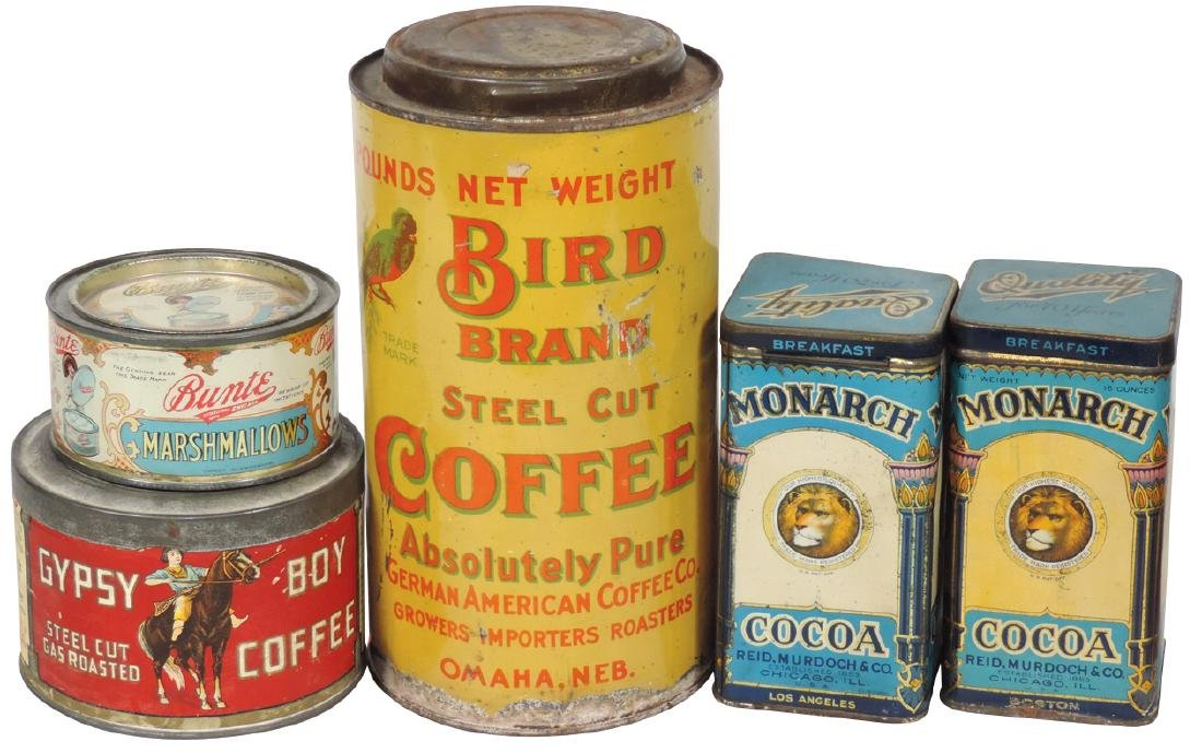Country store tins (5), Bird Brand Coffee-Omaha, NE,