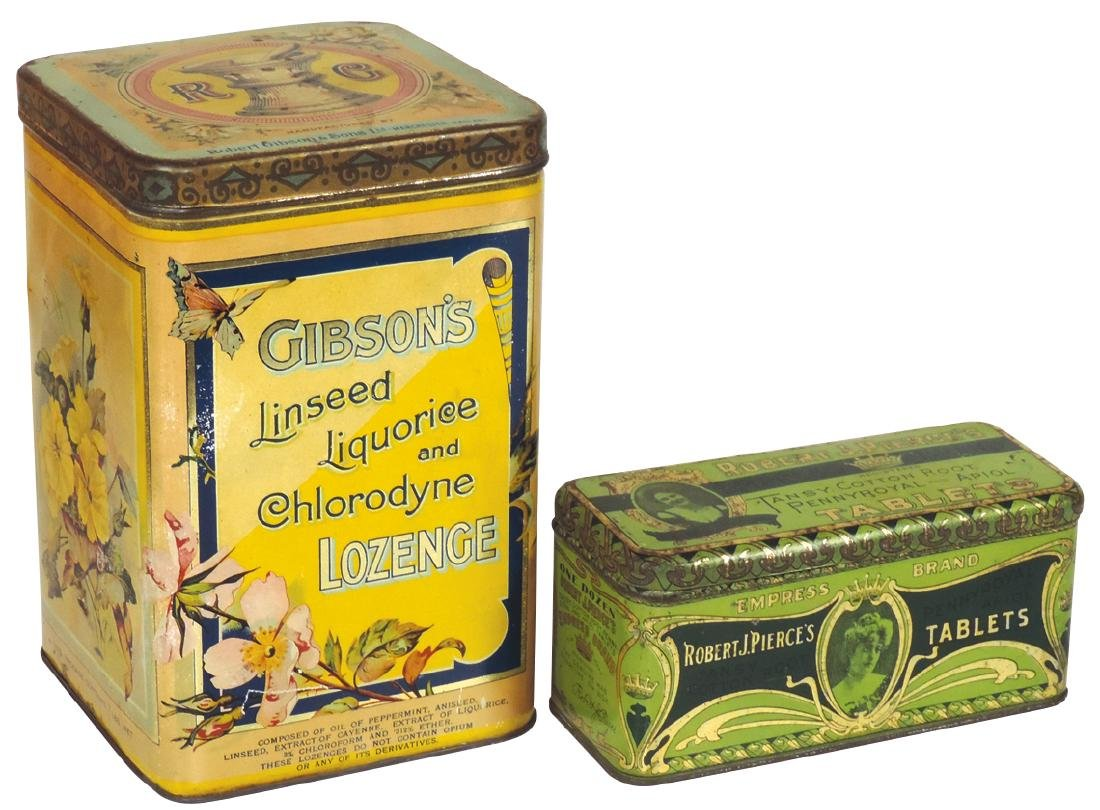 Country store tins (2), Gibson's Linseed Lozenge &