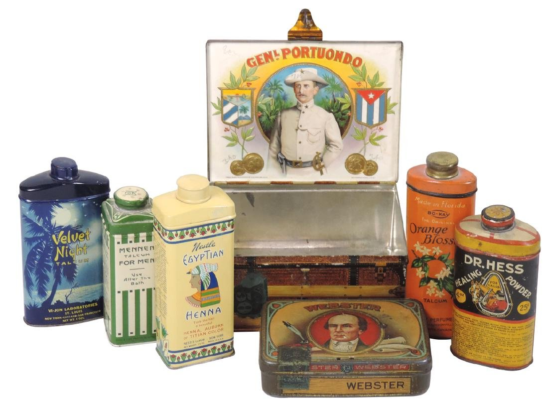 Talcum, veterinary & cigar tins (7), Bo-Kay Orange