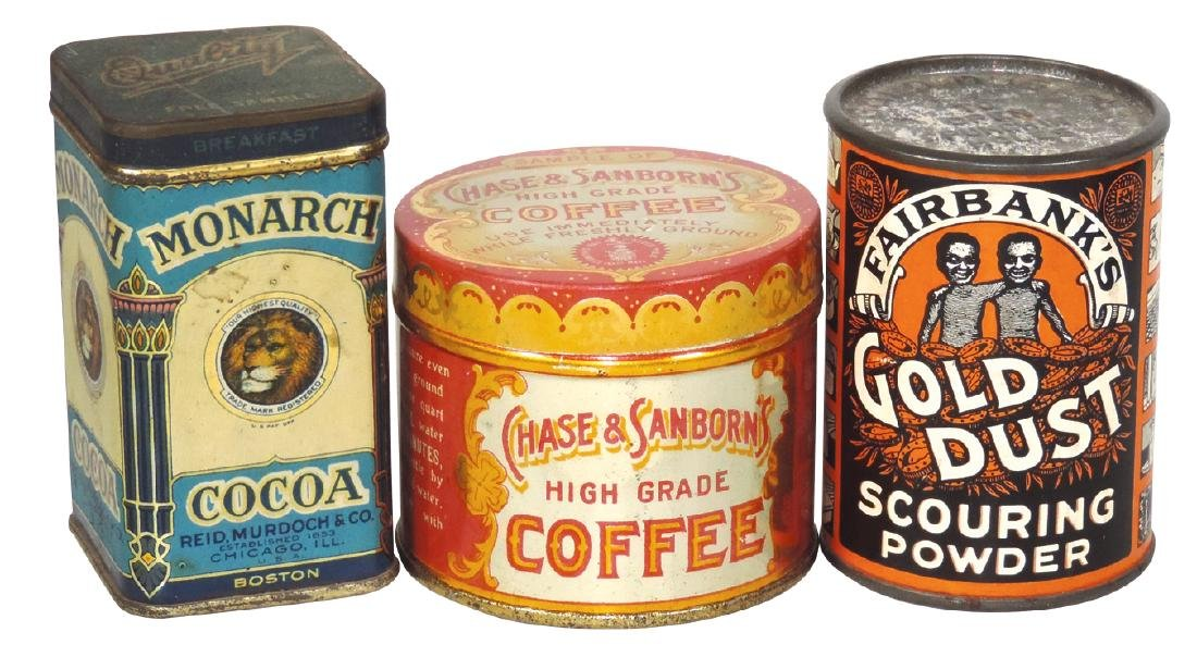 Country store sample tins (3), Monarch Cocoa,
