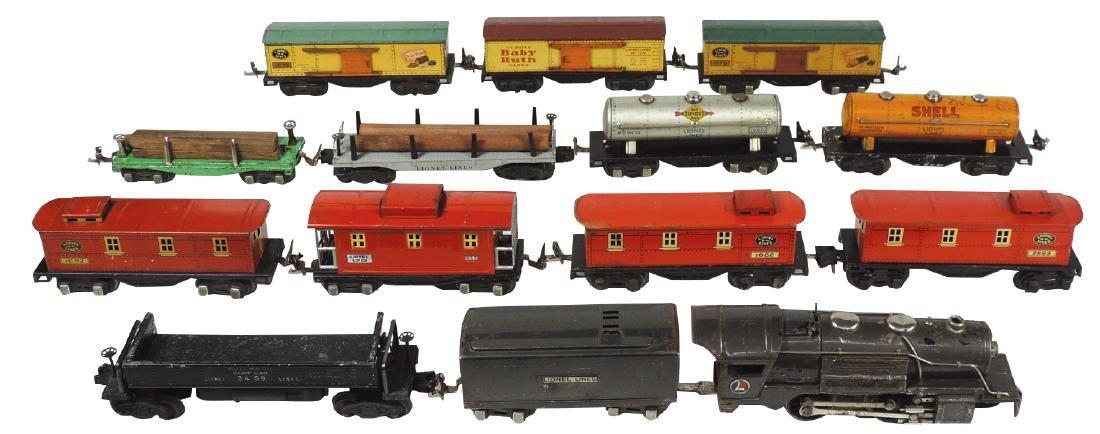 """Toy train (14 pcs), Lionel """"0"""" gauge loco 259E, reefer,"""