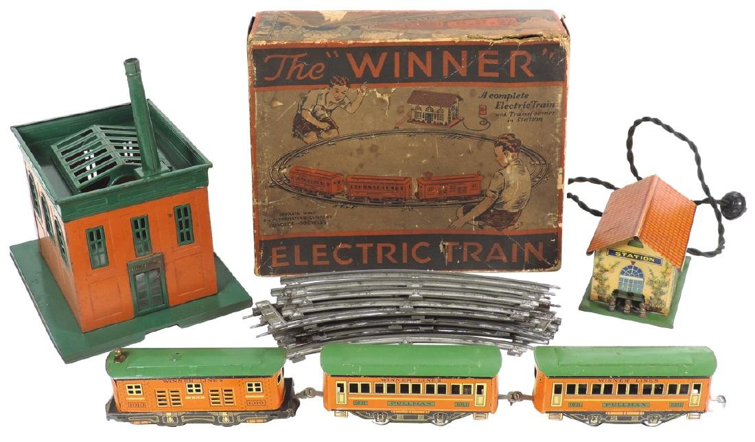 "Toy train & station, The ""Winner"" Electric Train, 3-pc"