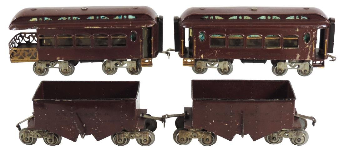Toy train cars (4), Lionel, observation & parlor cars &