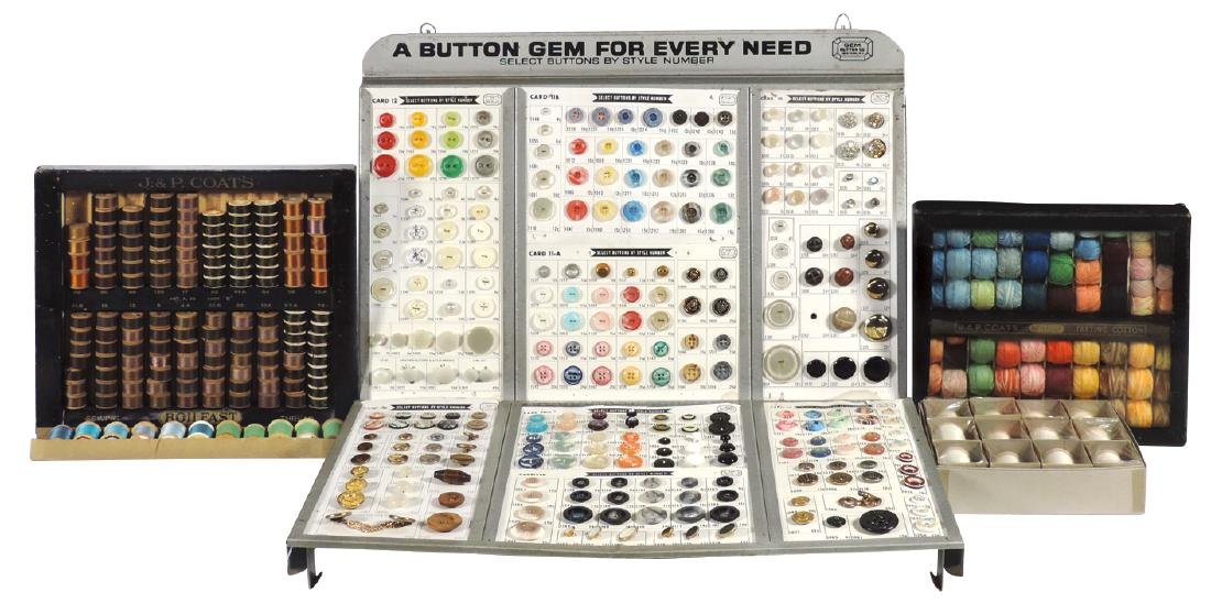 Sewing notion displays (5), Gem Button fold-out sample