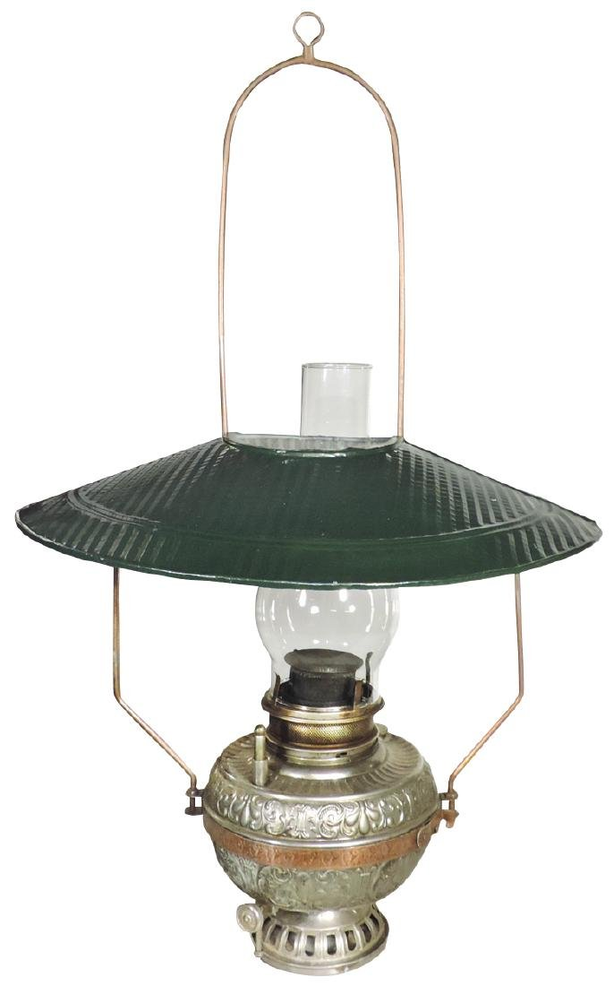 Country store hanging Kerosene lamp, wire frame