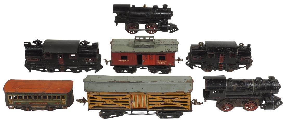Toy train locomotives & cars  (7 pcs), Ives cast iron
