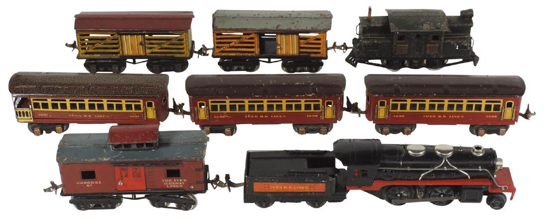 Toy trains (2), Ives #3252 engine, (2) #65 livestock