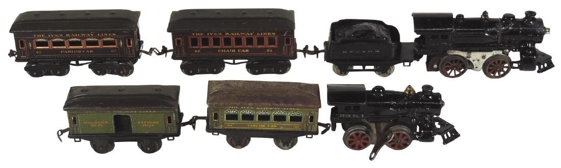 Toy trains (2), Ives #5 engine, #50 baggage & #52