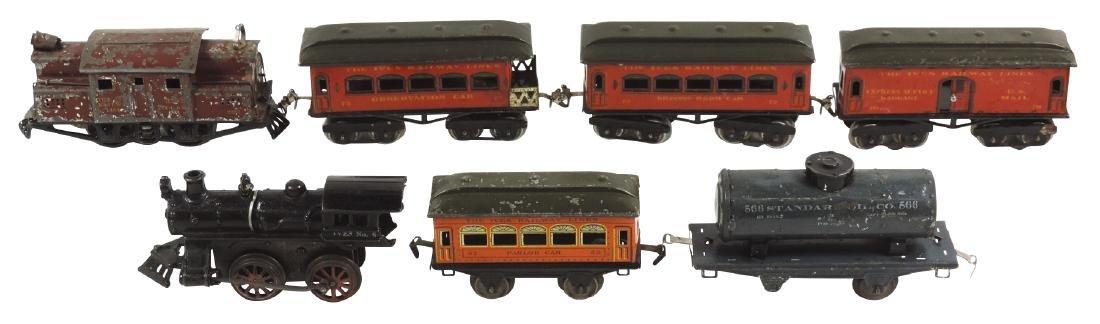 Toy trains (7 pcs), parlor car 52, Standard Oil 566,