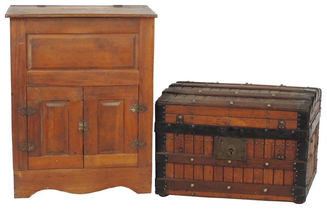 Children's ice box & trunk, wood 2-door ice box w/lift
