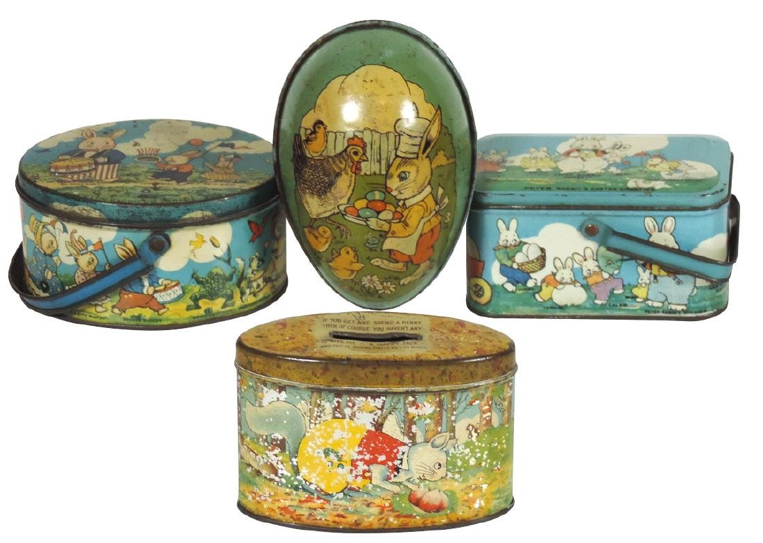 Children's Easter tins & bank (4), all litho on tin